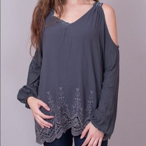 NWT Love Stitch long sleeve cold shoulder top